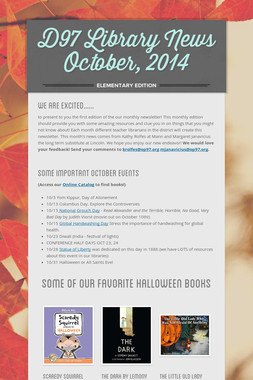 D97 Library News  October, 2014