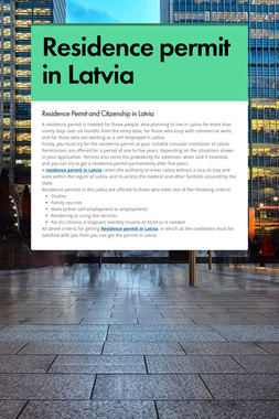 Residence permit in Latvia