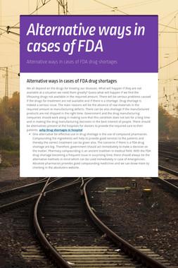 Alternative ways in cases of FDA