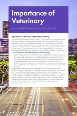 Importance of Veterinary