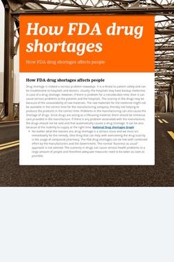 How FDA drug shortages