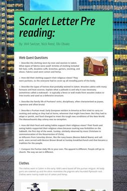 Scarlet Letter Pre reading: