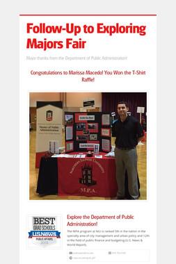 Follow-Up to Exploring Majors Fair
