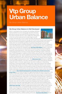 Vtp Group Urban Balance