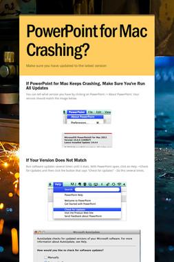 PowerPoint for Mac Crashing?