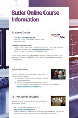 Butler Online Course Information