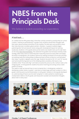 NBES from the Principals Desk