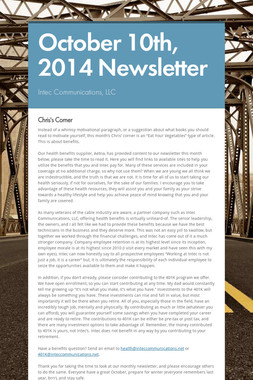 October 10th, 2014 Newsletter