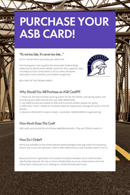 PURCHASE YOUR ASB CARD!