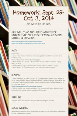 Homework: Sept. 29-Oct. 3, 2014