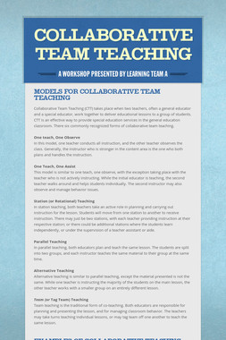 Collaborative Team Teaching