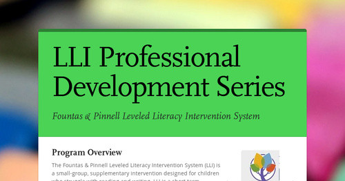 LLI Professional Development Series Smore Newsletters For