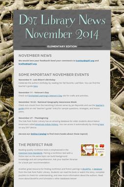 D97 Library News  November 2014