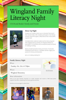 Wingland Family Literacy Night