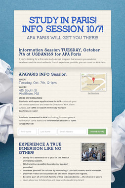 STUDY IN PARIS! INFO SESSION 10/7!