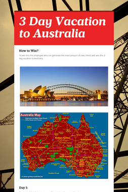 3 Day Vacation to Australia