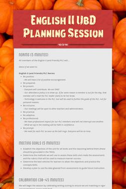 English II UbD Planning Session