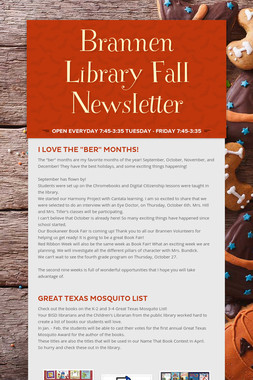 Brannen Library  Fall Newsletter