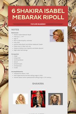 6 Shakira Isabel Mebarak Ripoll