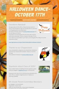 Halloween Dance- October 17th