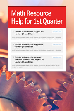 Math Resource Help for 1st Quarter