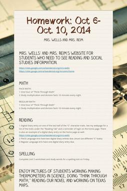 Homework: Oct 6-Oct. 10, 2014