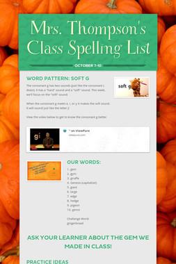 Mrs. Thompson's Class Spelling List