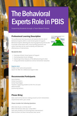 The Behavioral Experts Role in PBIS