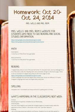 Homework: Oct 20-Oct. 24, 2014