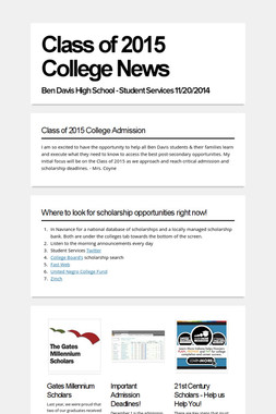 Class of 2015 College News