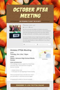 OCTOBER PTSA MEETING
