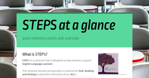 STEPS at a glance | Smore Newsletters