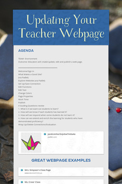 Updating Your Teacher Webpage