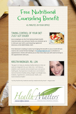Free Nutritional Counseling Benefit
