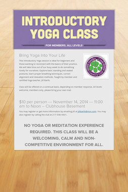 Introductory Yoga Class