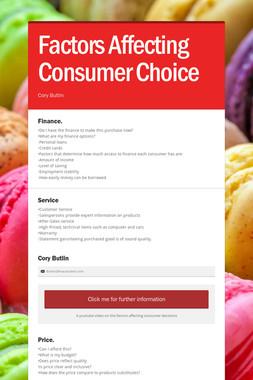 Factors Affecting Consumer Choice