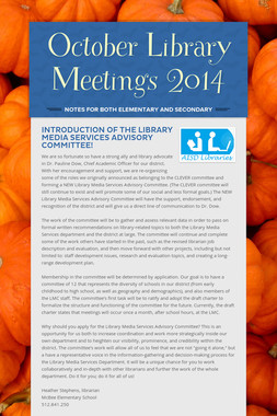 October Library Meetings 2014