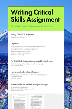Writing Critical Skills Assignment