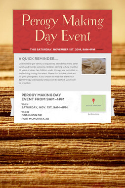 Perogy Making Day Event