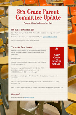 8th Grade Parent Committee Update