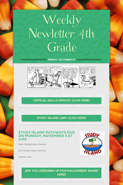 Weekly Newletter: 4th Grade