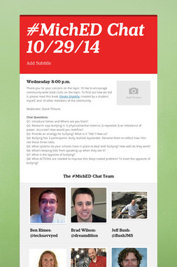 #MichED Chat 10/29/14