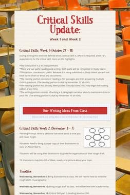 Critical Skills Update: