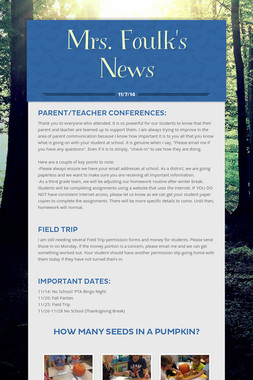 Mrs. Foulk's News