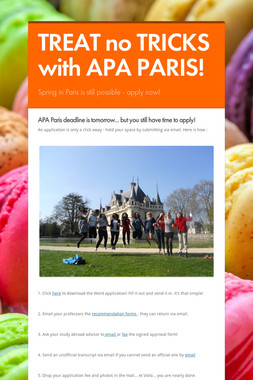 TREAT no TRICKS with APA PARIS!