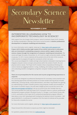 Secondary Science Newsletter