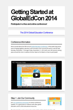 Getting Started at GlobalEdCon 2014