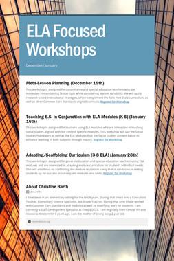 ELA Focused Workshops