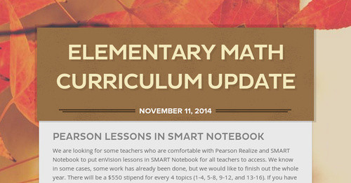Elementary Math Curriculum Update | Smore Newsletters for Education