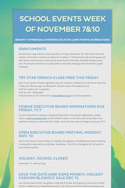 School Events Week of November 7&10